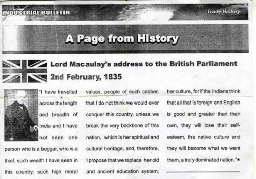 British Raj Head of East India Company , Lord Maculy Address Outlining his Plan to enslave Pashtuns and Indians as Strategy to British Parliament in 1835.